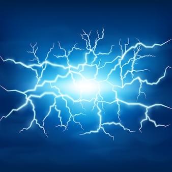 Lightning Storm In Blue Sky