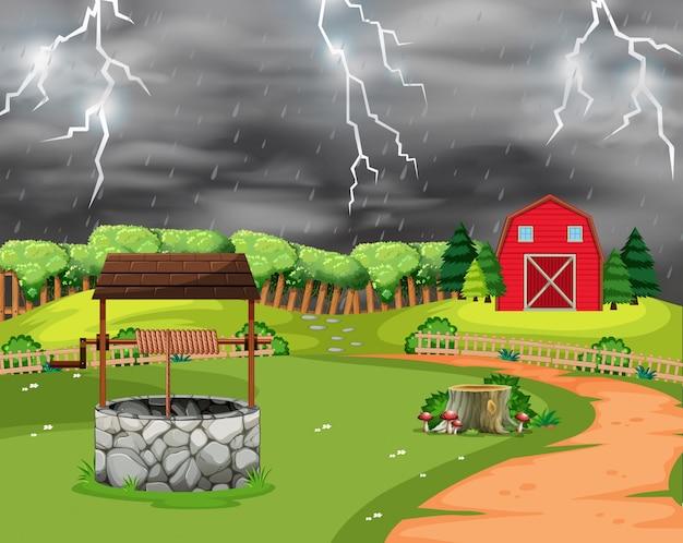 번개 폭풍 풍경 장면