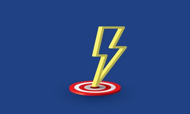 Lightning strike on target success goal concept inspiration business