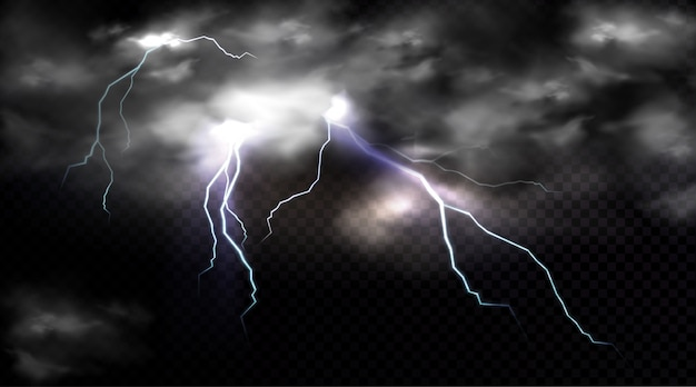 Lightning strikes and thundercloud, electric discharge and storm cloud, impact place or magical energy flash.