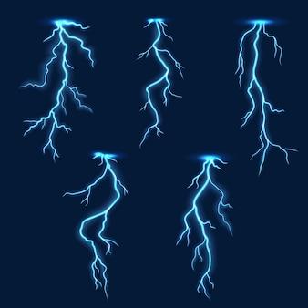 Lightning thunder bolt, thunderstorm electric flash effect on background