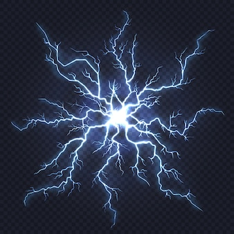 Lightning thunder. flash electricity, spark strike, blue light blitz electric flare, natural energy flash lightning