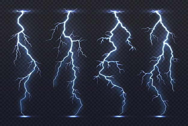 Lightning. thunder storm electricity blue sky flash stormy realistic thunderstorm rainstorm climate.