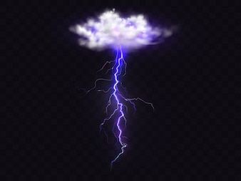 Lightning thunderbolt from thunderstorm cloud illustration.