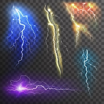 Lightning transparent set in different colors realistic