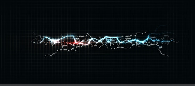 Молния разных цветов, светящаяся молния и яркий энергетический шок