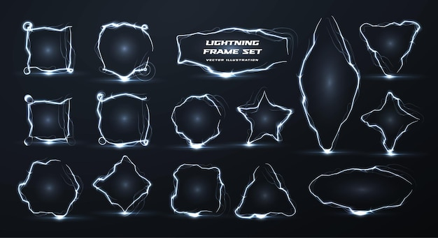 Lightning vector creative realistic borders set electricity empty geometric frames isolated pack