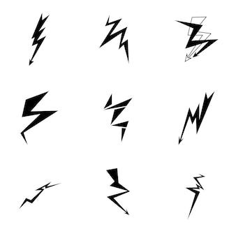 稲妻のベクトル。シンプルな稲妻のイラスト、編集可能な要素は、ロゴデザインで使用できます
