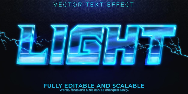 Lightning voltage text effect, editable energy and voltage text style