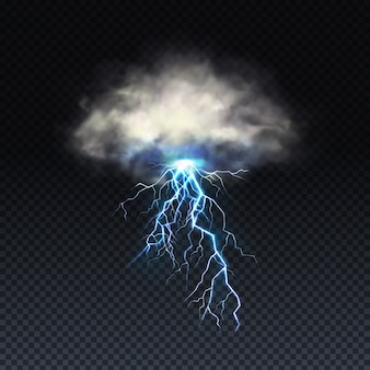 Lightning with grey cloud isolated on transparent background