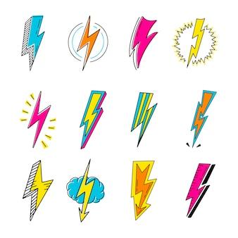 Lightnings color cartoon retro illustrations set