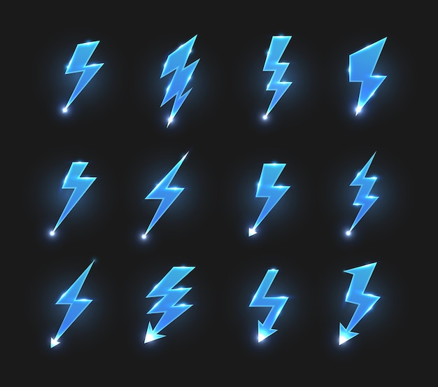 Lightnings icons   zigzag arrows, electric strike or flashes with glowing sparks.