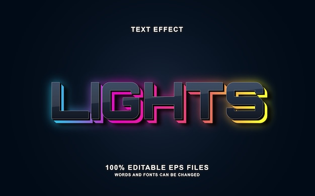 Lights 3d text style effect