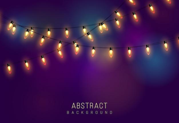 ライト。カラフルな明るい花輪。色の花輪、赤、黄、青、緑の白熱電球。ネオンは、透明な背景にledを照らしました。図