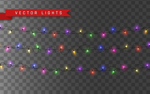 ライト。カラフルな明るいクリスマスの花輪。花輪、赤、黄、青、緑の光る電球の色。透明な背景にネオンが照らされたled。図