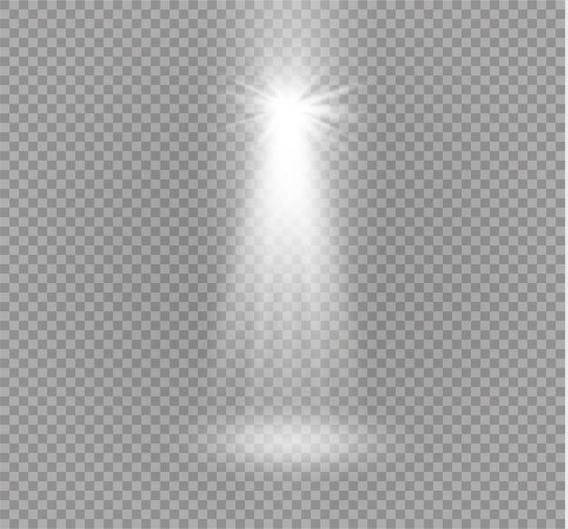 透明な背景に分離されたライト効果。光線とスポットライト。グローライト効果。