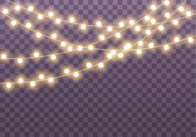 カード、バナー、ポスター、webデザインの透明な背景に分離されたライト。黄金の輝くガーランドのセットネオンランプイラスト