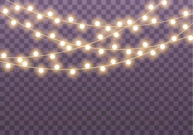 カード、バナー、ポスター、webデザインの透明な背景に分離されたライト。金色の輝くガーランドのセットネオンランプイラスト