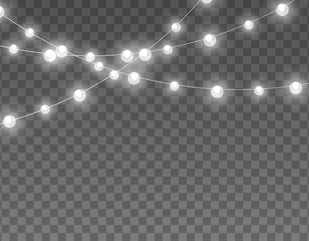 透明な背景に分離されたライト。カード、バナー、ポスター、webデザインの花輪。黄金の輝くガーランドのセットネオンランプイラスト