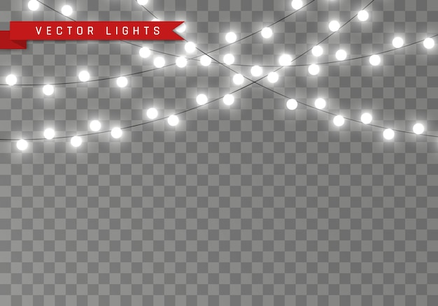 透明な背景に分離されたライト。カード、バナー、ポスター、webデザインの花輪。白い光るガーランドのセットは、黄色のネオンランプの図を導いた