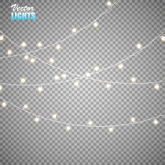 Огни, изолированные на прозрачном фоне. набор золотой рождественской светящейся гирлянды.