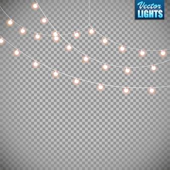 Огни, изолированные на прозрачном фоне. набор золотой рождественской светящейся гирлянды. Premium векторы