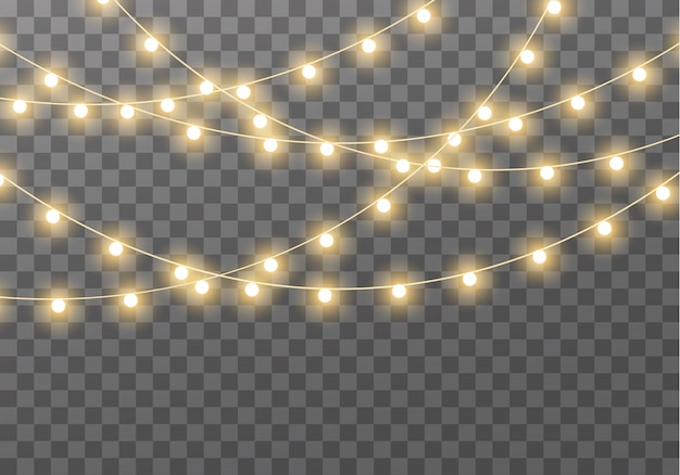 Lights isolated on transparent background for cards, banners, posters, web design. set of golden   glowing garland led neon lamp   illustration