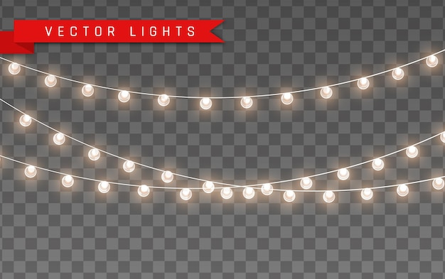 Lights isolated on transparent background for cards, banners, posters, web design. set of golden xmas glowing garland led neon lamp  illustration