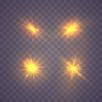 Огни искрится изолированно, блики, взрыв, блеск, линия, солнечная вспышка, искра и звезды на темном фоне прозрачный. баннер для празднования. блеск, вспышка, объектив, аннотация, взрыв.