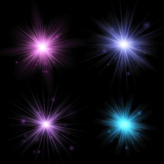 블랙에 고립 된 빛 반짝임