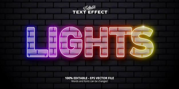 Lights  text neon style editable text effect