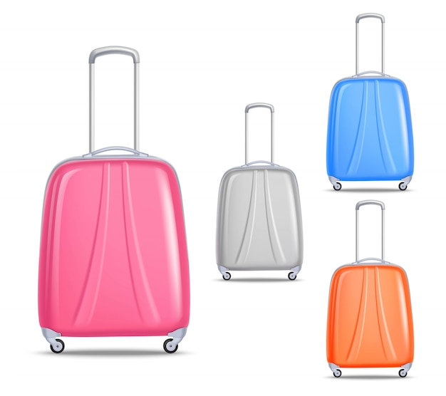 Lightweight colorful plastic travel luggage set