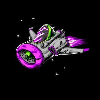 Серия иллюстрации космического корабля более светлого