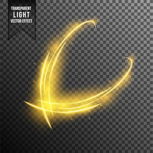 Effetti di luce, onde. particelle d'oro magiche dorate e scintillanti isolate su sfondo trasparente. scintillanti scie luminose. flash futuristico.