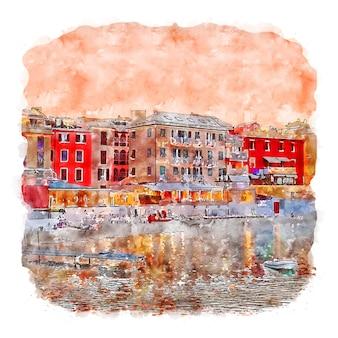 Лигурия италия акварельный эскиз рисованной иллюстрации