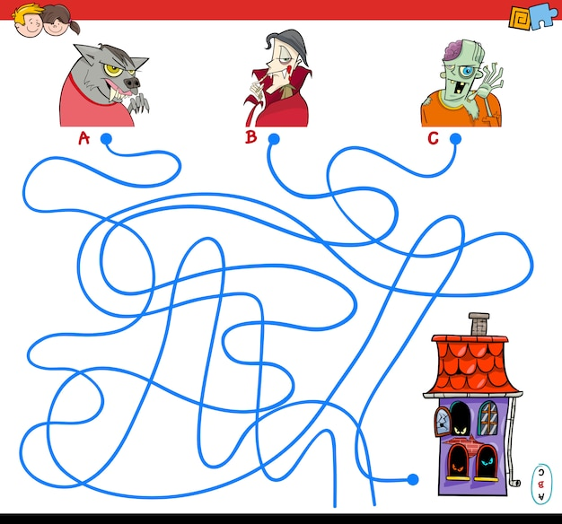 Liines maze game with halloween characters