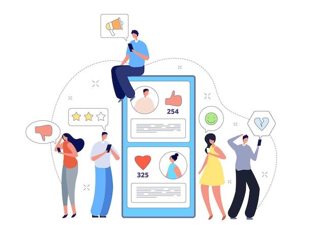 Как зависимость. использование смартфона, друзья стоят и делятся сообщениями. влияние социальных средств массовой информации, концепция вектора мобильных цифровых сетей. смартфон нравится и подписаться, обратная связь, иллюстрация сообщества