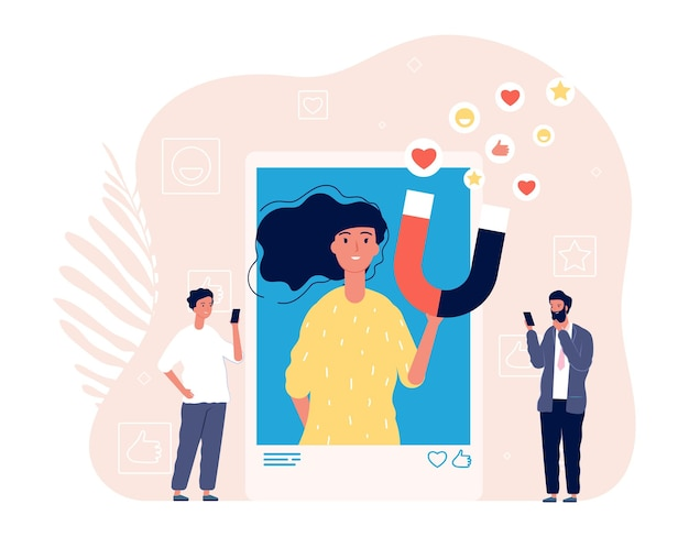 Like addiction. woman photo selfie, addict of social media. man likes girl image in smartphone vector illustration. woman social addiction, smartphone photo online