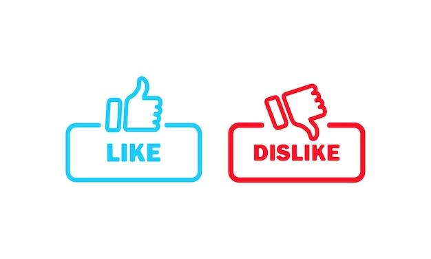 기호를 좋아하고 싫어합니다. 엄지손가락 위아래 아이콘입니다. 소셜 미디어 사용자 개념입니다. 벡터 eps 10입니다. 흰색 배경에 고립