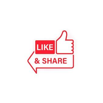 Поставьте лайк и поделитесь значком. недурно. символ социальной сети в плоский с тенью. вектор на изолированном белом фоне. eps 10.