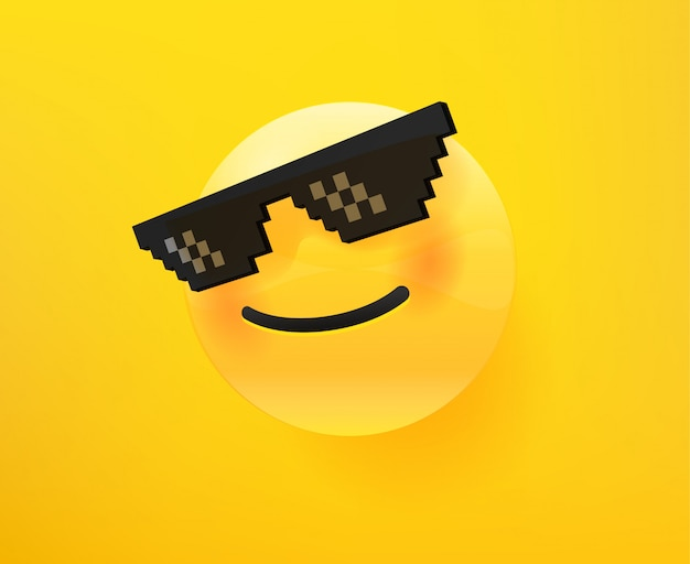 Like a boss emoticon. 3d comic style editable vector illustration