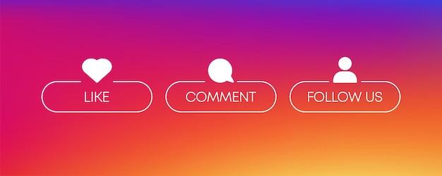 Лайк, комментарий, следуй за иконкой, отличный дизайн для любых целей вектор социальных сетей