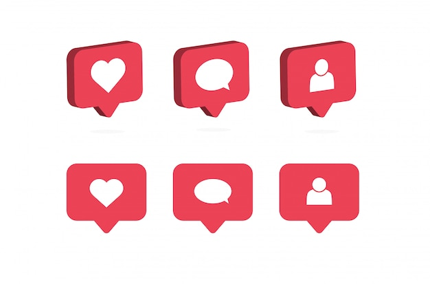 Like, comment, follow icon. social media notifications.