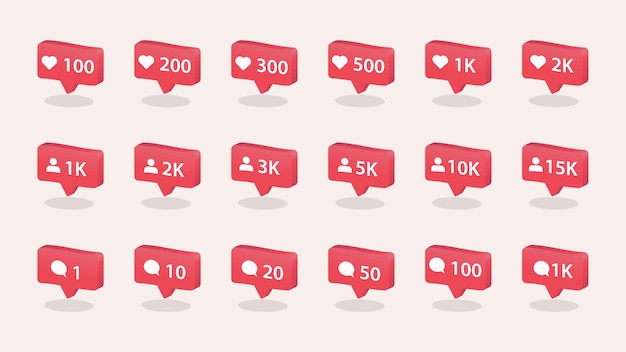 Like comment and follower icons set social media concept for interface