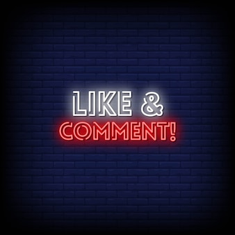 Like and comment neon signs style text