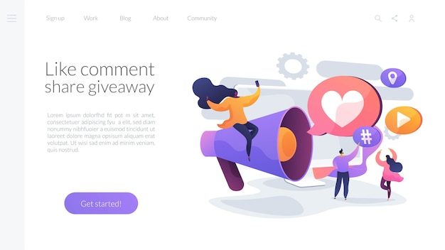 Like, comment and share giveaway landing page template