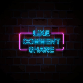Like comment share neon style sign illustration