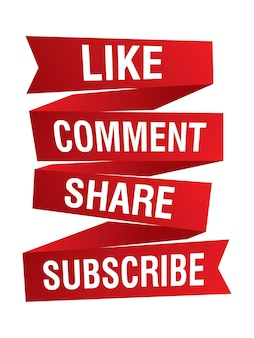 Like comment share and subscribe red ribbons for social media