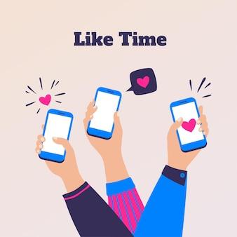 コンセプトのように。スマートフォンを持っている漫画の人々の手、ソーシャルメディアが従事します。ベクターの友達のコミュニケーションと顧客のフィードバック、イラストマーケティングブランドの服を市場に出す
