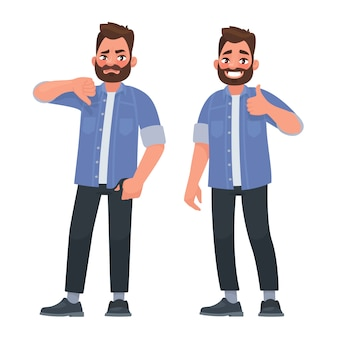 Like and dislike. good and bad. a man shows a gesture of approval and disapproval Premium Vector